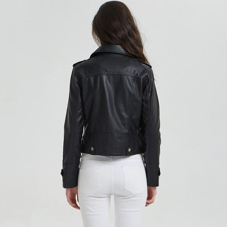 Queechalle Féminins Vestes Noir Veste Dame D'extérieur Femmes En Cuir Faux Pu Nouvelle 2018 Manteau Motard Black Vêtements De D'automne Moto r8xqr4T