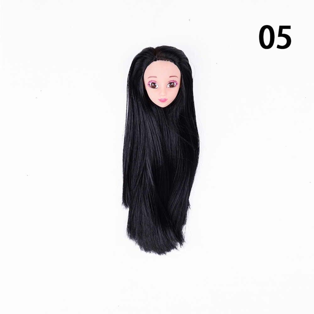 3D Supersize Ogen Pop Hoofd met Rechte Lang haar Voor 1/6 BJD diy hoofd acryl ogen hoofd voor pop gewrichten body hoofd speelgoed