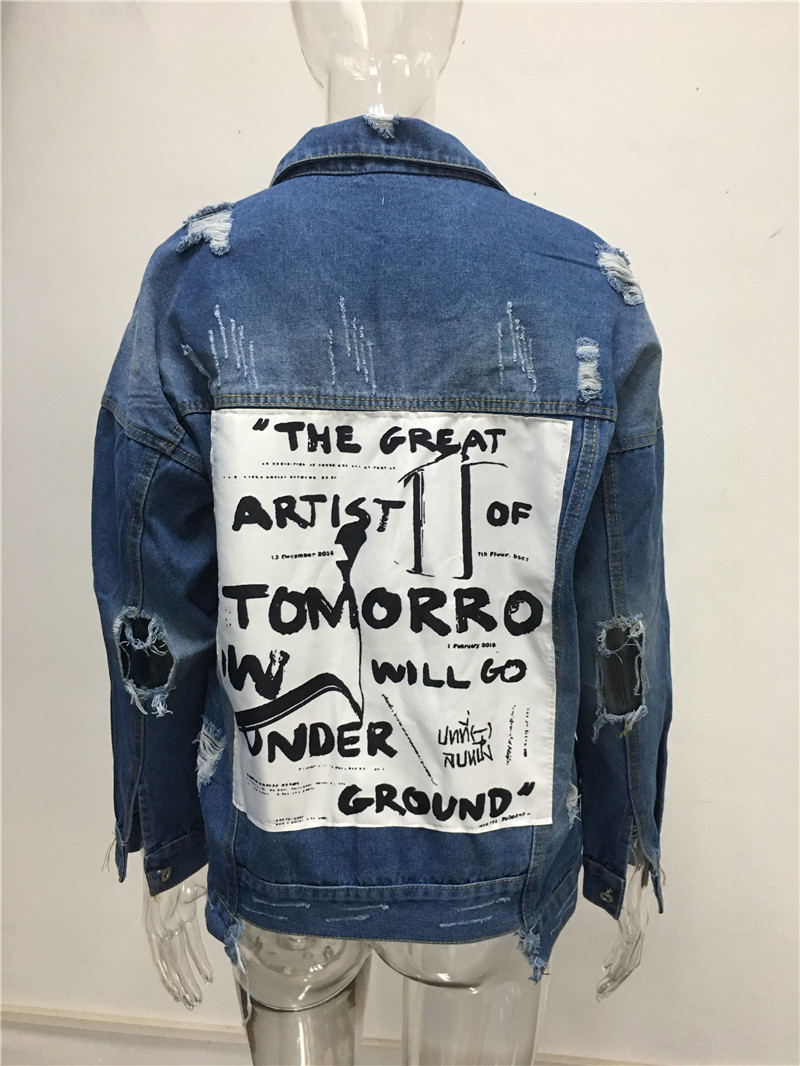 HTB1ps29V9zqK1RjSZFjq6zlCFXaS RUGOD Basic Coat Bombers Vintage Fabric Patchwork Denim Jacket Women Cowboy Jeans 2019 Autumn Frayed Ripped Hole Jean Jacket