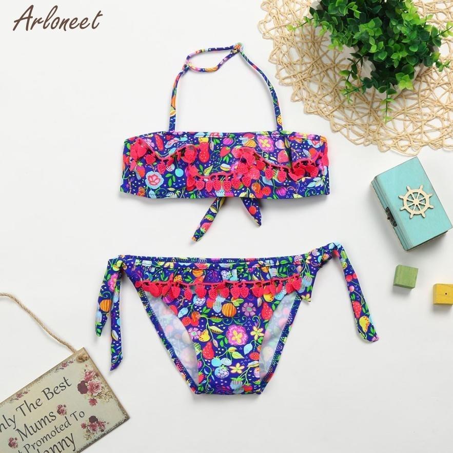 c177a413fa7cd baby swimwear 2018 set Strawberry Fruit Tassel Swimsuit baby swimwear for  girls MAR21