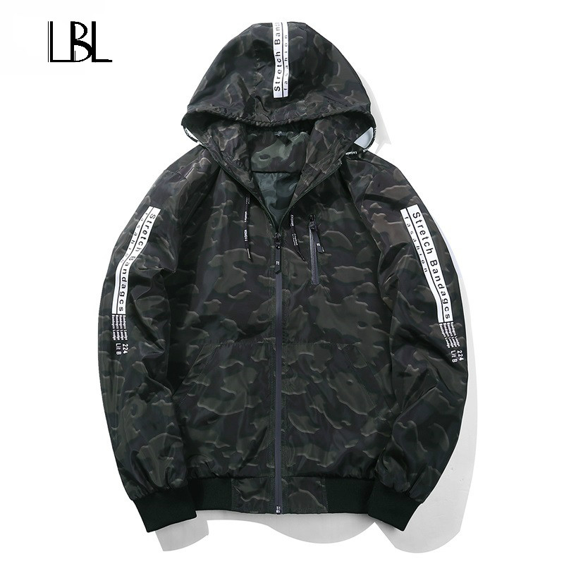 Europe Size Spring Men Jacket Camouflage Military Coat Hooded Camo Army Clothing Windbreaker Printed Letters Casual Jacket 2018