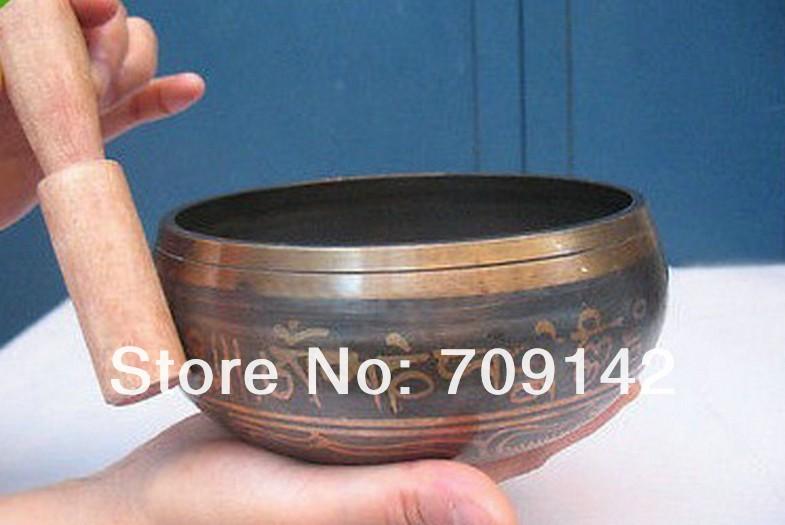 Yoga Asian Unusual Tibetan Bronze Diameter 4 Chinese tibet silver bronze singing bowl Antique Mens bowls