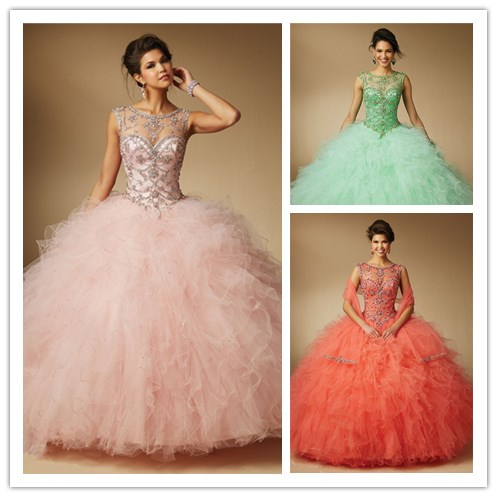 c029d891d56 Heavy Beaded Girls Masquerade Ball Gowns Quinceanera Dresses Vestidos De 15  Anos Sweet 16 Dreses For Prom Teens Lace UP