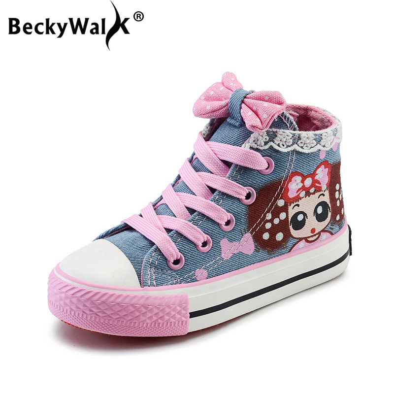 BeckyWalk Autumn Cartoon Girls Shoes Children Canvas Shoes High Top Lace Printed Kids Casual Shoes Girl Princess Sneakers CSH723 Лосины
