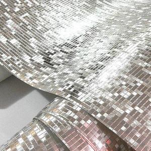 Image 4 - Luxo brilho mosaico papel de parede de fundo papel de parede da folha ouro prata teto cobrindo 3d