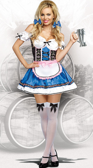 UTMEON Sexy German Bavarian Beer Girl Oktoberfest Costume Beer Wench Costume Halloween Costume for Women