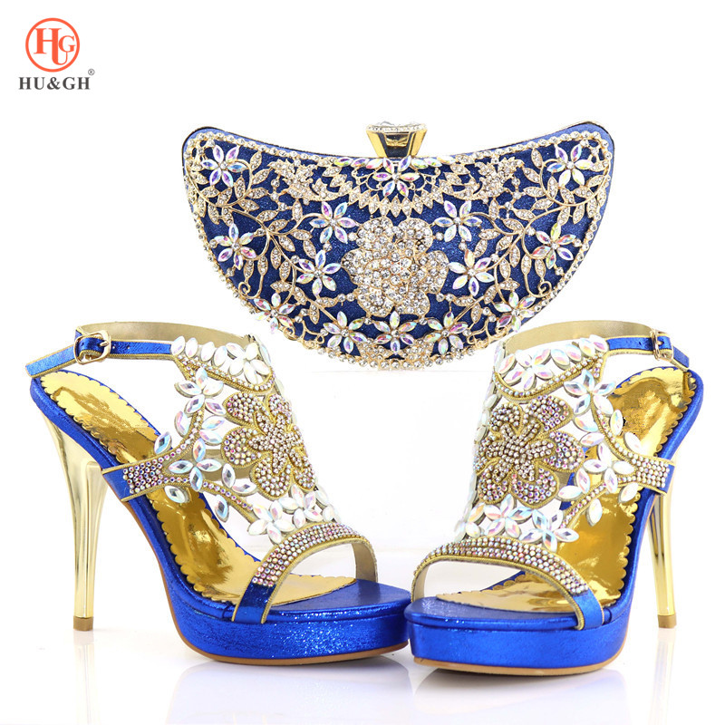 Royal Blue Color Ladies Shoes with Matching Bags Set Shoe and Matching Bag for Nigeria Party African Wedding Shoes and Bag Set
