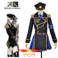 K Anime Return Of Kings Seri Awashima Cosplay Costume Custom Women Adult Military Uniform Outfit Royal Blue Skirt Hat Clothing