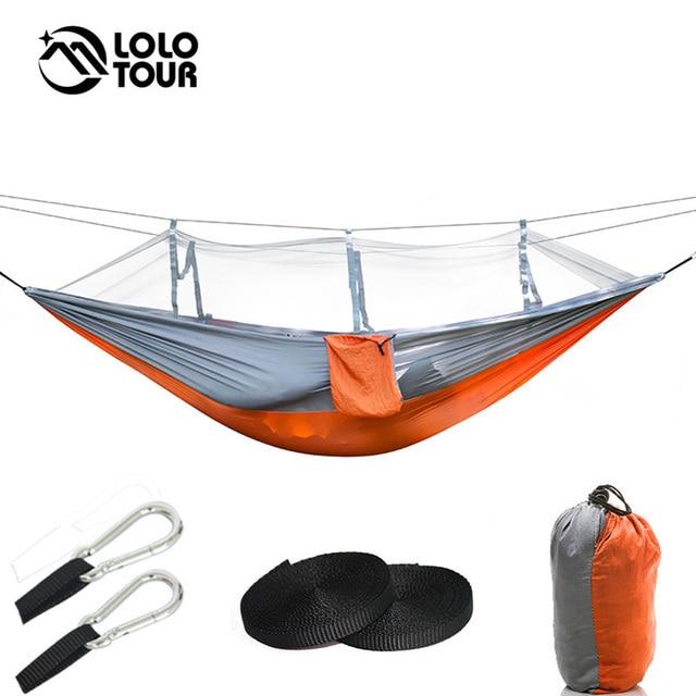 Paraşüt naylon kumaş çift Hamak örgü çadır geri dönüşümlü böcek sivrisinek ücretsiz Hamak salıncak Hamac asılı yatak dış mekan mobilyası