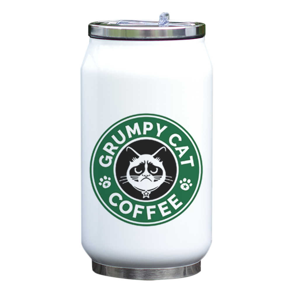 Design Funny Straw Mug Print Insulated Fantastic Water 300ml Coffee Bottle Thermal Cool With Metal Thermos 7gYfb6y