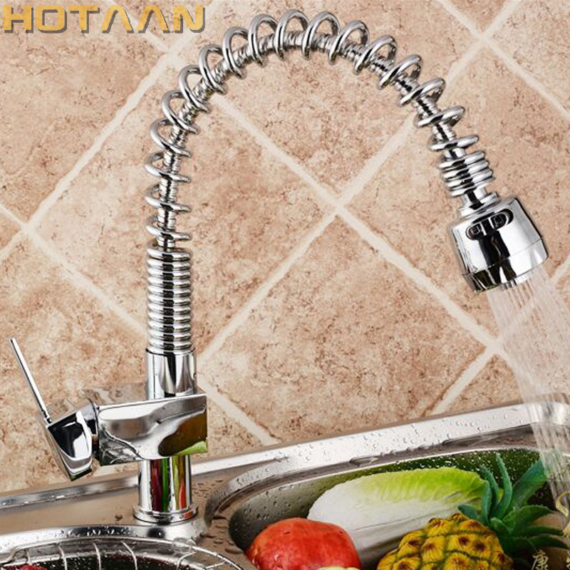 Hot Selling Free shipping super pull out spray Kitchen Faucet Polished Chrome Basin Mixer Brass sink Tap torneira YT-6012 free shipping free shipping pull out faucet polished chrome bathroom faucet basin sink mixer tap torneira banheiro bf031