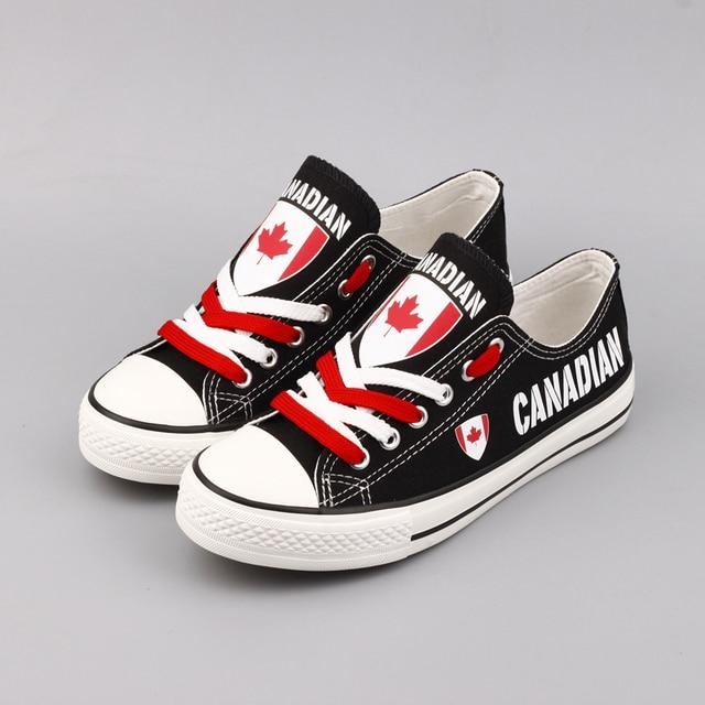 148fa6d42649 E-LOV New Arrival Canada Flag Printing Canvas Shoes Women Summer  Espadrilles Canadian Casual Flats tenis masculino
