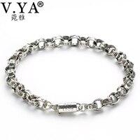 V YA Punk Men Jewelry Pure Handmade Thai Silver Buckle Link Bracelets Male Sanskrit Letters Chain