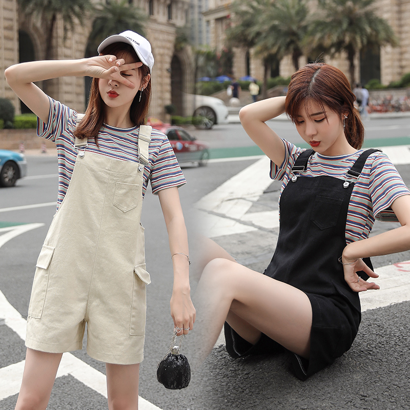 Women Casual Loose Black Beige Short Jumpsuits Female Summer Streetwear Pocket Straight Bodysuit Denim Solid Clothes