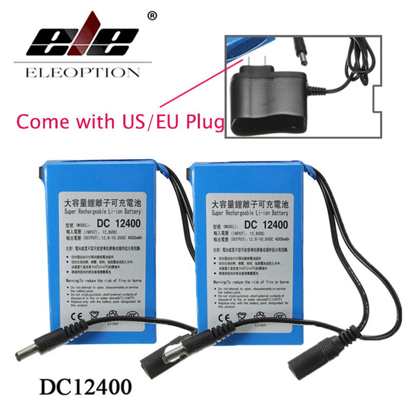 ELEOPTION 2PCS High Quality Super Rechargeable Portable Lithium-ion Battery <font><b>DC</b></font> 12V 4000mAh DC12400 With Plug + Charger image