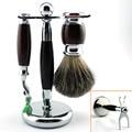 Zy wet shaving set kit de lujo puro pelo de tejón brocha de afeitar + soporte + maquinilla de afeitar de seguridad