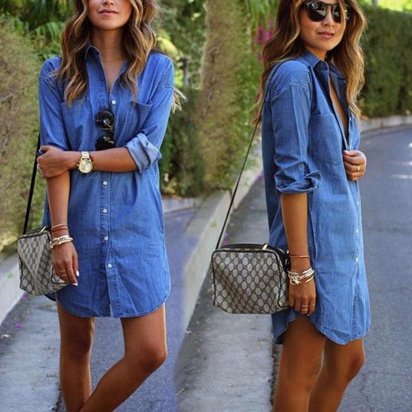 Women Casual Denim Dresses Pockets Elegant Cowboy Fashion Women Feminino Lady Slim Shirt Dress Jeans