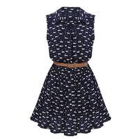 New Design Summer New Women Shirts Cat Footprints Pattern Show Thin Shirt Casual Dresses With Belt