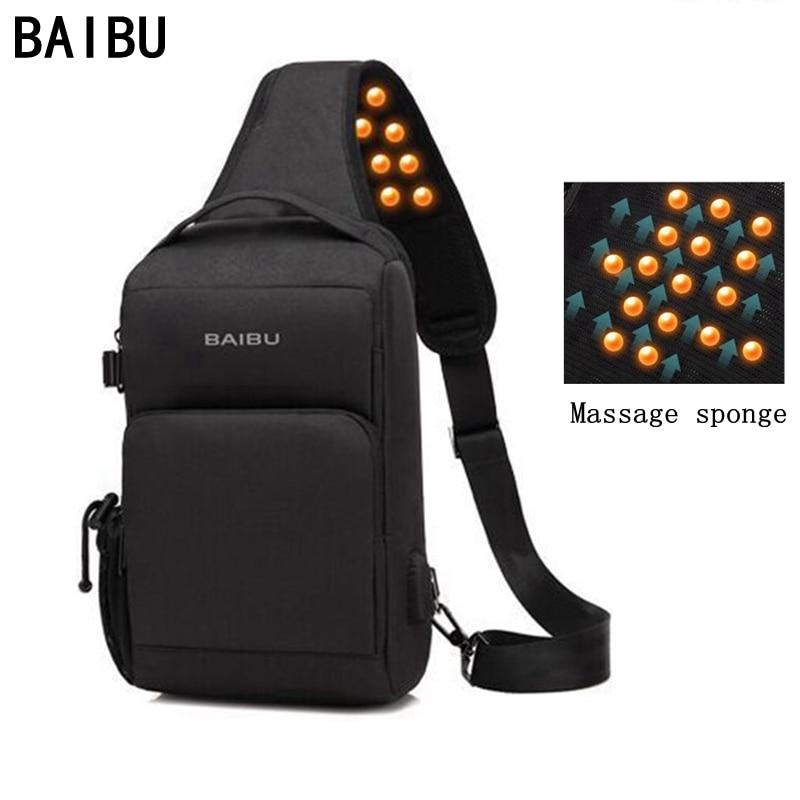 BAIBU bolsos cruzados de carga USB, para hombre, paquete antirrobo con masaje a la altura del pecho, bolso para mensajeros de cortas distancias, bolso móvil para iPad a prueba de agua
