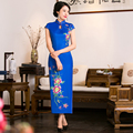 Free Shipping New Sale Long Qipao Chinese Women's Clothing Cheong-sam Dress Cotton Qipao For Women 4 color