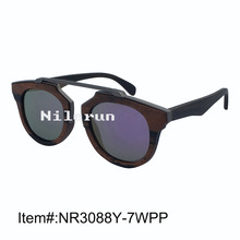 Luxury brand metal bridge round ebony frame mirror purple polarized sunglasses