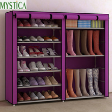 ФОТО  Home Simple Large Capacity Storage Shoe rack Dustproof Multilayer Shoe Shelf Cloth Shoe Organizer Cabinet 6 or 12 Layers