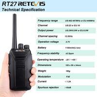 """מכשיר הקשר 2pcs Retevis RT27 מכשיר הקשר PMR רדיו PMR446 / FRS 0.5W / 2W VOX USB טעינה 2 תחנת רדיו דרך Portable מערבל מקמ""""ש (4)"""