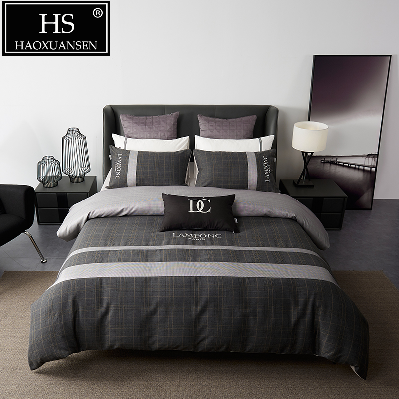 simple business style 4pcs bedding sets dark brown plaid cotton nordic quilt cover bed sheet set queen king size adult bed set