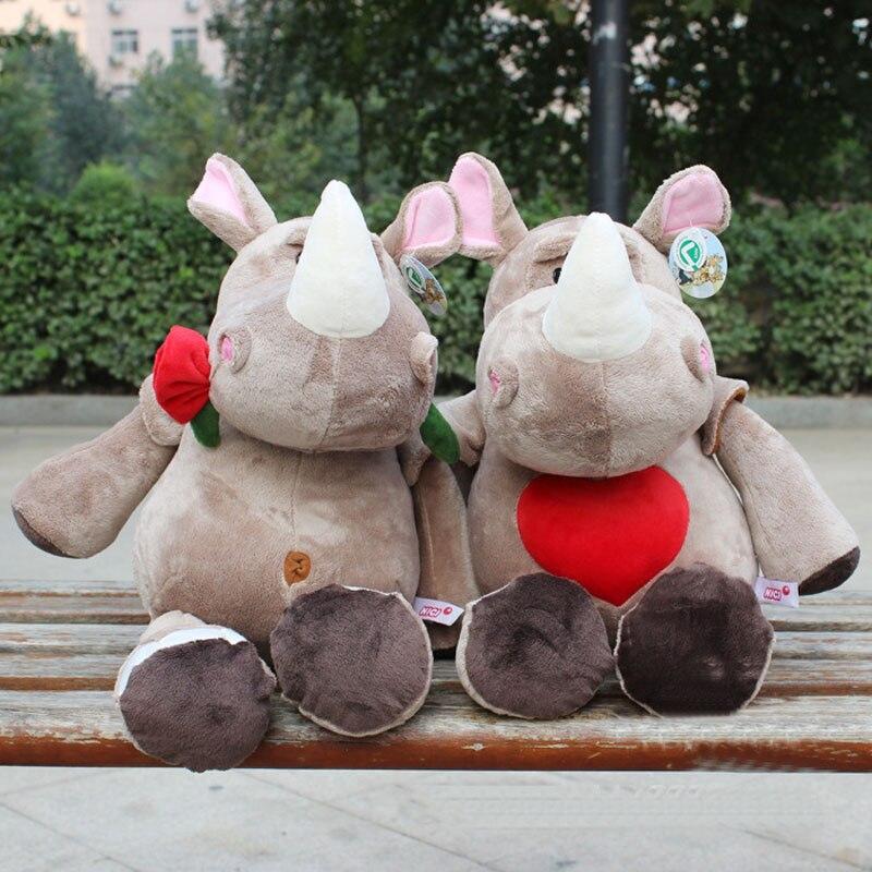 45 cm Nouveau Mignon Rhinocéros Poupées en peluche En Peluche Jouets Cadeaux du Jour de Valentine