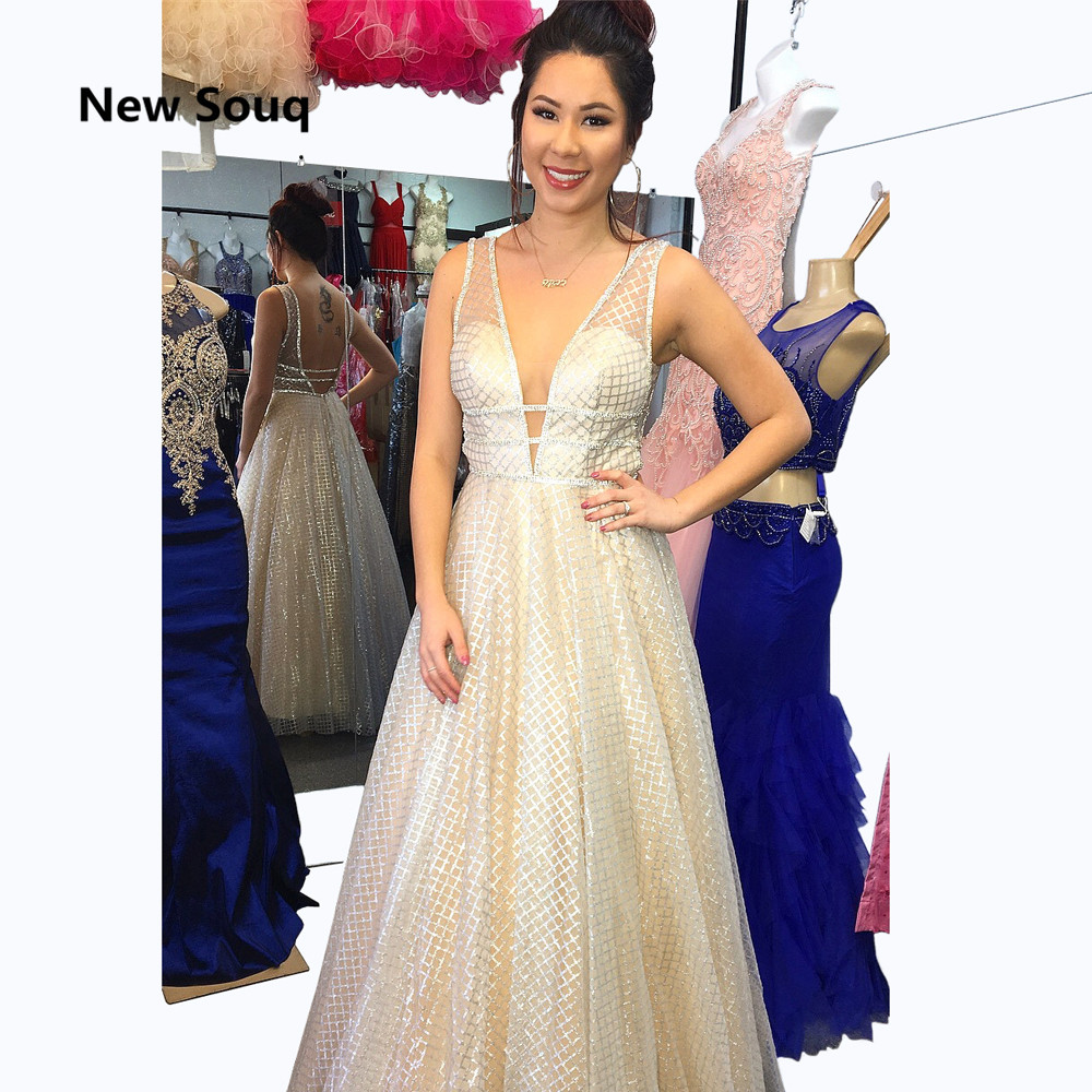 Sexy V-neck Backless Prom Dresses Saudi Arabic Shiny Sequins A-Line Long Prom Dress Evening Party Gowns Robe De Soiree