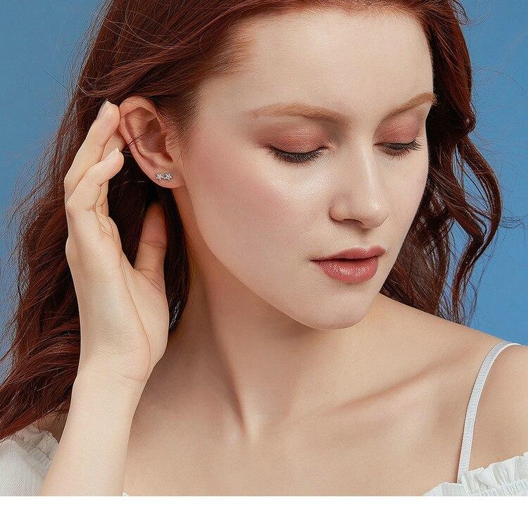 HTB1ps45V4jaK1RjSZFAq6zdLFXaW BAMOER Star Comet Asymmetry Stud Earrings for Women Clear CZ Bright Meteor Ear Stud 925 Sterling Silver Jewelry Femme BSE087