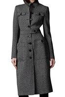 MYPF-ผู้หญิงเสื้อคลุมบางพอดียาวT Rench Coatยาวผ้าขนสัตว์ผสมแจ็ค