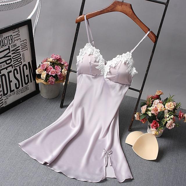 Ladies Sexy Nighty Silk V-neck Floral Sleepwear With Padded Bra 4