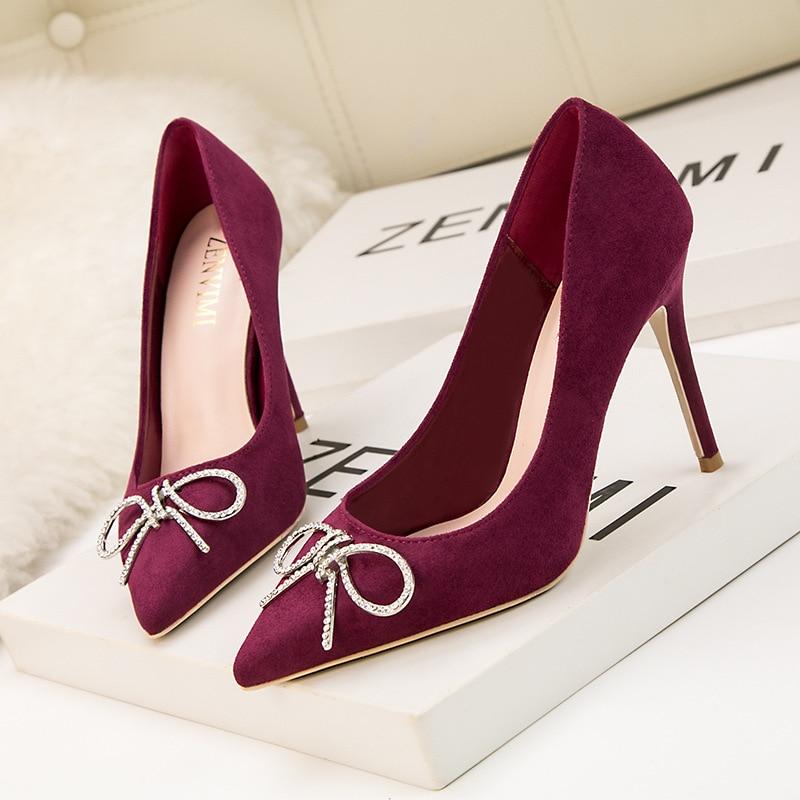 Tip scarpe metallo vino Zwm Tacchi 9288 alto rosso Tacco Bocca fiocco 6 Slim fibbia metallo alti Poadisfoo Fashion dolce singolo imitazione nero qRa866E
