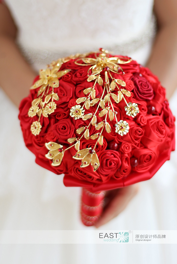 Modabelle Chinese Style Red And Gold Wedding Bouquets Crystal Pearls Flowers Brooch Bouquet Miss Rose Buque De Noiva In From