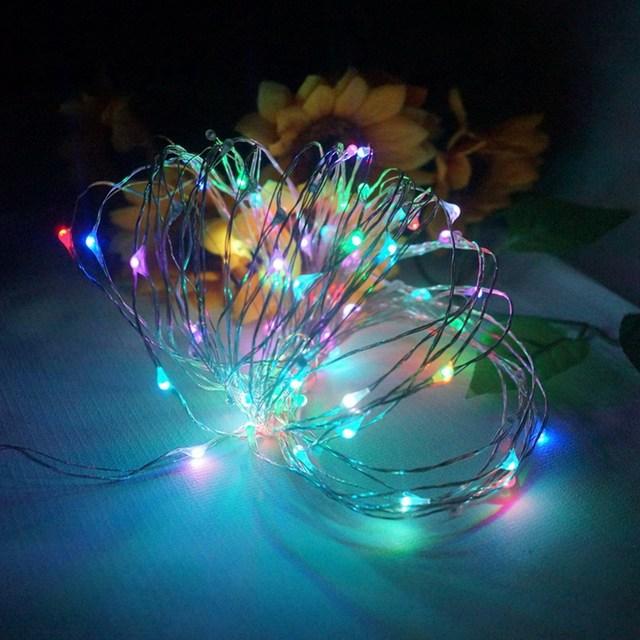 10 M 100 Alambre de Cobre Llevó la lámpara para el Jardín Patio Luz de la Secuencia de Hadas de Navidad de La Boda decoración del partido VES13 P18 0.4