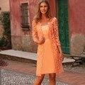Venta caliente real photo 2017 la madre de la novia vestido de longitud de la rodilla de orange Columna Vaina de encaje Madre De La Novia Con la Chaqueta LY004