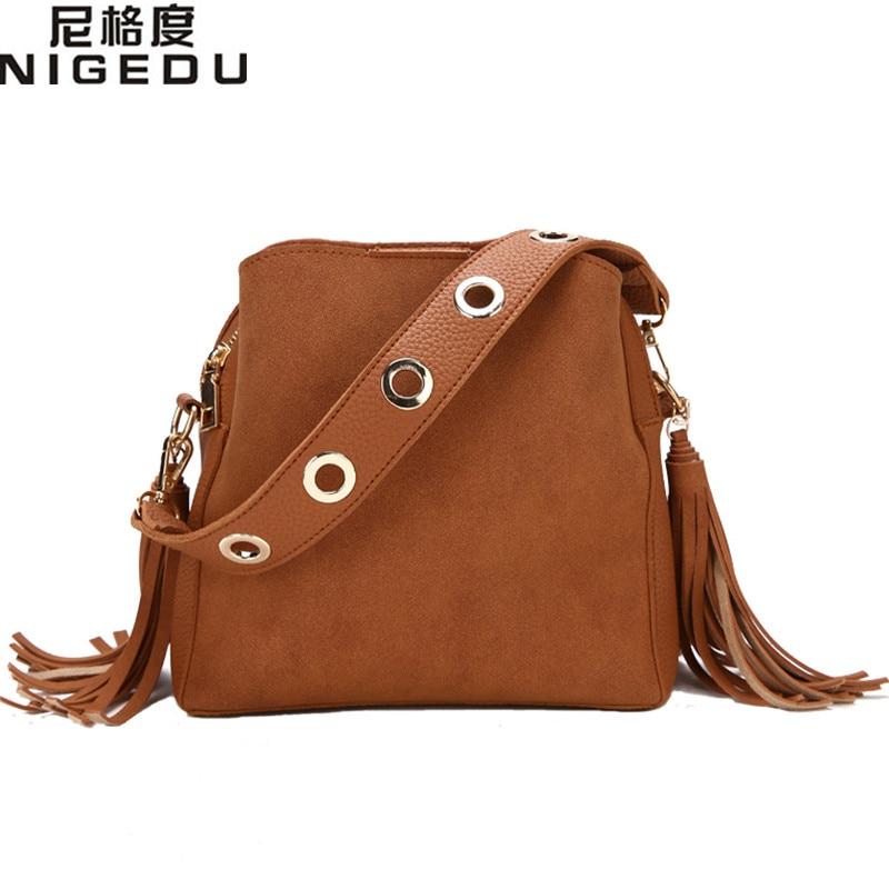 цены Vintage tassel women bucket bag High quality matte PU leather Crossbody Shoulder Bags for Female handbag Ladies Totes bolsa
