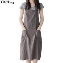 2017 New Gray linen BBQ Apron With pocket apron for Women Men 82*62cm Senior cotton Bib Kitchen cooking Restaurant Waiter