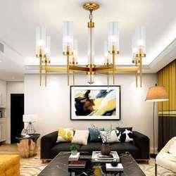 Nowoczesne złota metalowe żyrandole oświetlenie Led długie szklane salon Led Wisząca lampa światła jadalnia wiszące Żyrandol