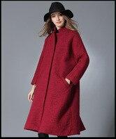 3XLWinter Coat Women 2017 Elegant Long Overcoat woman Woolen Jacket Wool Trench Coats Loose Winter Autumn Outwear plus size