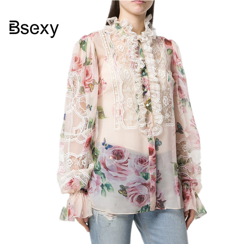Blusas femininas elegante 2018 Runway Rose Floral Lace Chiffon Women Blouse Long Sleeve Ladies Tops Shirt Ropa mujer verano
