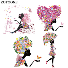 ZOTOONE Flower Butterfly Girl Patch Iron On Transfers For Clothes T-shirt Heart Heat Transfer Sticker DIY Thermal Press E