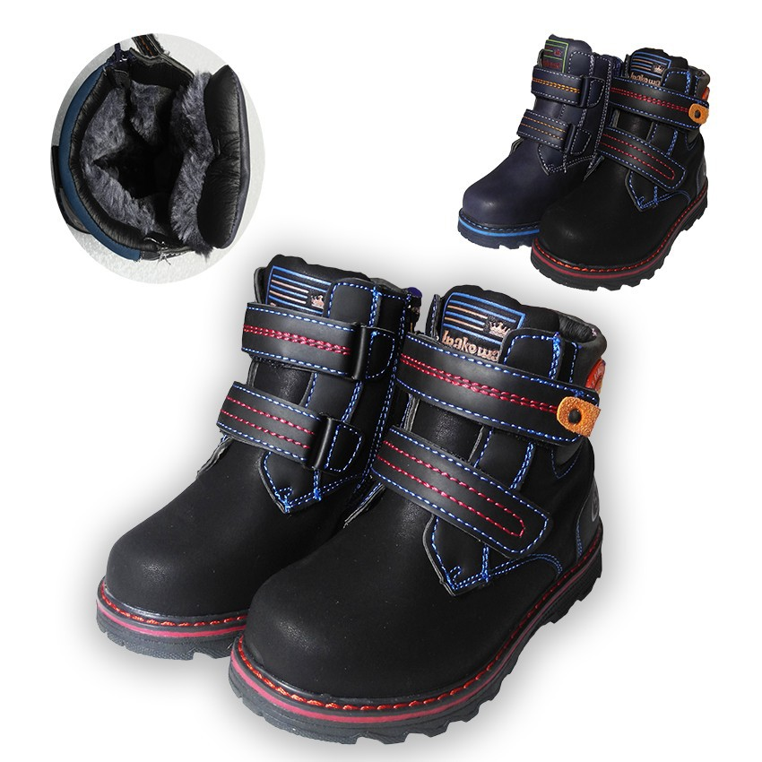 Exported Europe 1pair -20 degree Winter warm Snow Boots, Children Boot cotton-padded shoes, Kids PU Leather Boy Shoes
