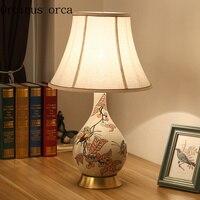 Новый китайский классический цветочный птица гончарная настольная лампа спальня прикроватная лампа Американский Сад Настольная лампа Бес