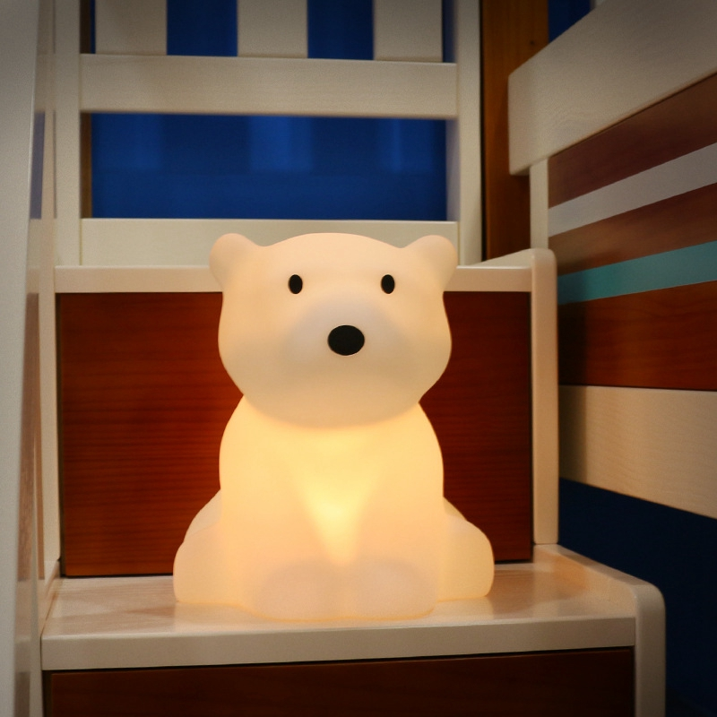 Polar Bear LED Night Light Swivel Dimmable Novel Gift for Kids Sleeping Warm White Baby Lamp Silicone Indoor Decoration Light - 3