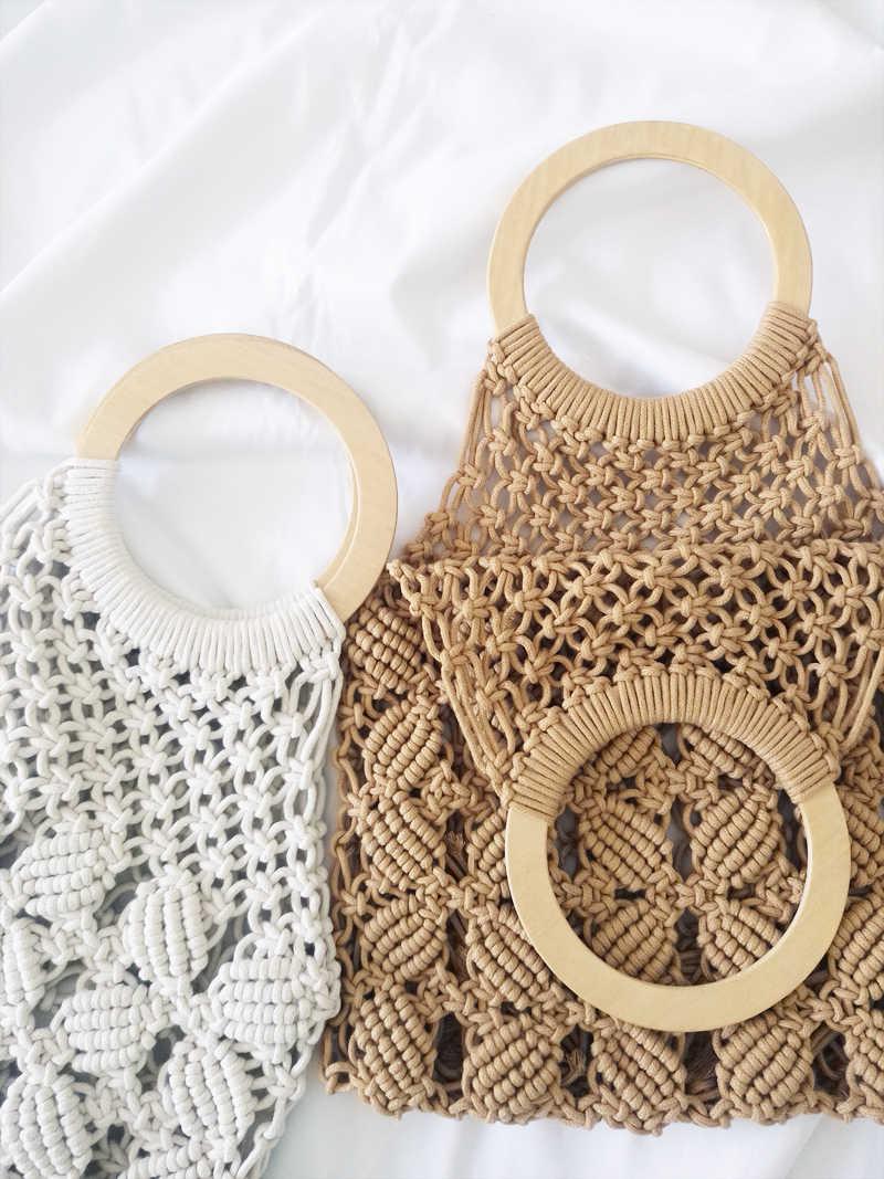 Ins Oco Artesanal Rede De Pesca Bolsas Femininas Bohemian Praia Palhas Sacos de Algodão Bolsas Casuais Sacos de Tecido Bolsa Sacos de Mão Das Senhoras