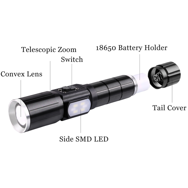 YAGE Rechargeable Led Flashlight Cree XML-T6 Lanterna Tactical flashlights USB Flashlight 18650 Lampe Touche Linternas Powe Bank