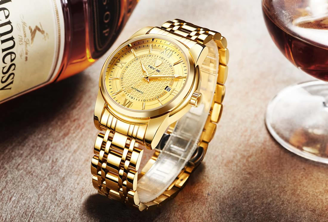 Automatic wristwatch men quartz stainless steel business watches gold top brand luxury male casual outdoor clock men watch 2018 hollow brand luxury binger wristwatch gold stainless steel casual personality trend automatic watch men orologi hot sale watches