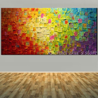 Hand Painted Abstract Art Palette Knife Red And Green Color Oil Painting On Canvas Wall Picture
